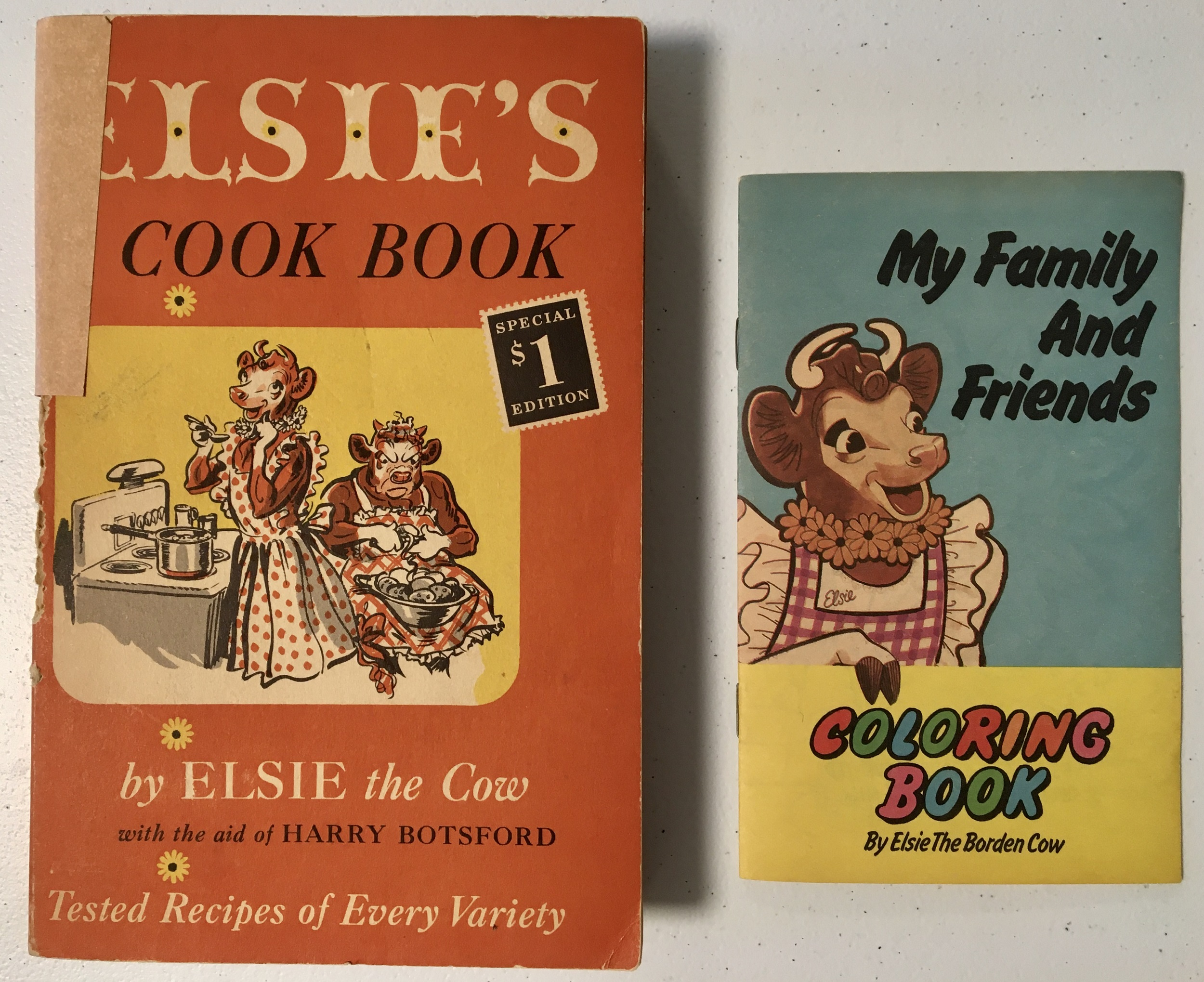 Elise the Cow themed cook book and coloring book